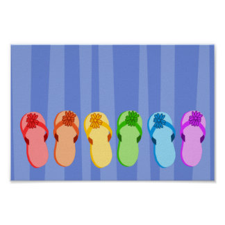 Rainbow Flip Flops Poster
