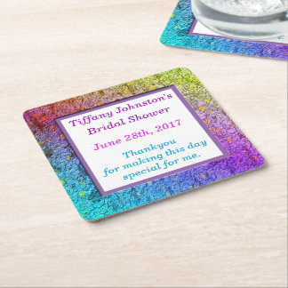 [Rainbow Floral Frame] Abstract Flowers Square Paper Coaster