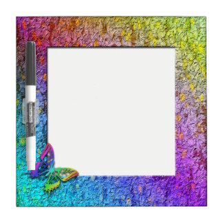 """Rainbow Floral Frame"" w/Butterfly Dry Erase Board"