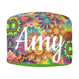 Rainbow Floral Name Cushion Seating Teen or Child