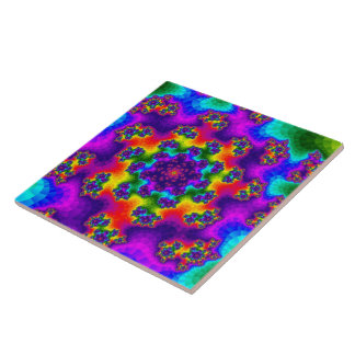 Rainbow Floral Sprinkles Large Tile