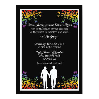 Rainbow Flourishes Gay Wedding Invitations