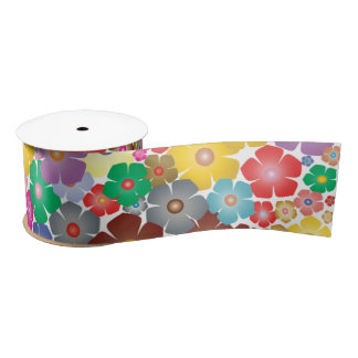 Rainbow flower blooms ribbon satin ribbon