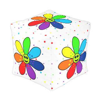 Rainbow Flower Cube Pouf
