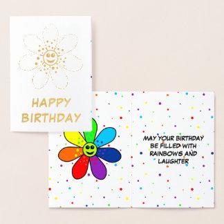 Rainbow Flower Foil Birthday Card