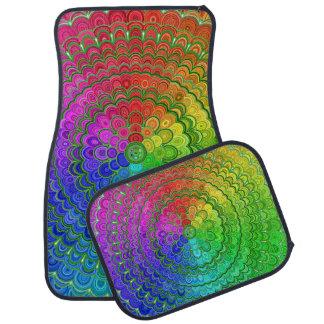 Rainbow Flower Mandala Car Mat