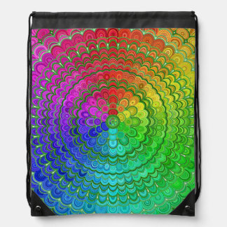 Rainbow Flower Mandala Drawstring Bag