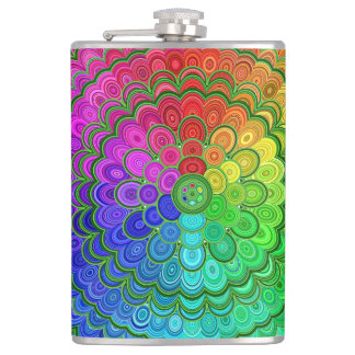 Rainbow Flower Mandala Hip Flask