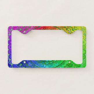 Rainbow Flower Mandala License Plate Frame