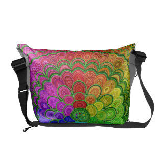 Rainbow Flower Mandala Messenger Bags