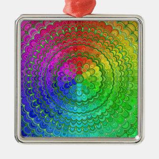 Rainbow Flower Mandala Metal Ornament
