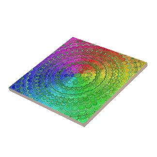 Rainbow Flower Mandala Tile