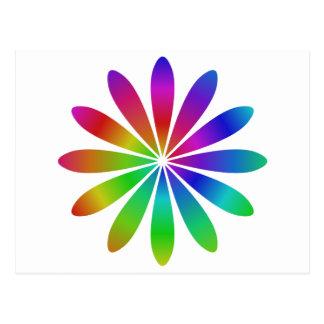 Rainbow flower postcard