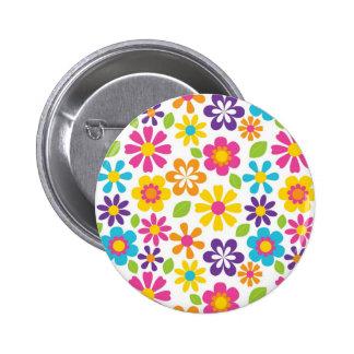 Rainbow Flower Power Hippie Retro Teens Gifts 2 Inch Round Button
