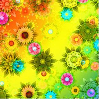 Rainbow Flower Power Photo Sculpture Keychain