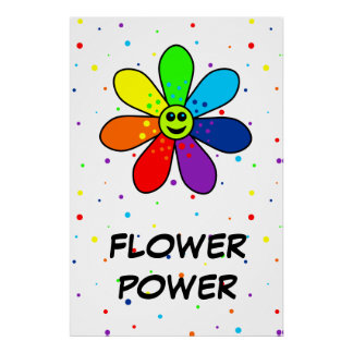 Rainbow Flower Power Poster