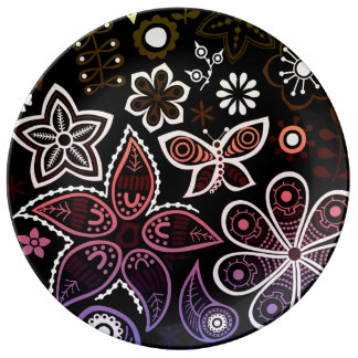 Rainbow Flowers and Bugs Design Porcelain Plate