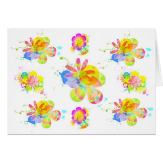 Rainbow Flowers Blank Greeting Card