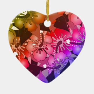 Rainbow Flowers Ceramic Ornament