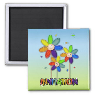 rainbow flowers magnet