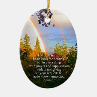 Rainbow Forest Christian Scripture Bible Verse Ceramic Oval Ornament