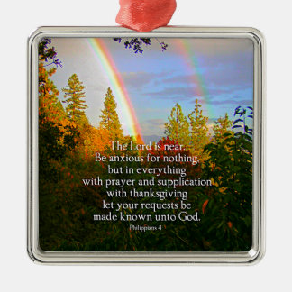 Rainbow Forest Christian Scripture Bible Verse Silver-Colored Square Ornament
