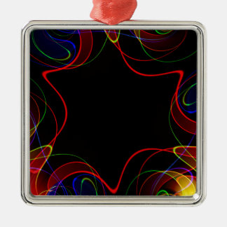 Rainbow fractal #2 Silver-Colored square ornament