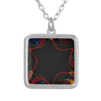 Rainbow fractal #2 silver plated necklace