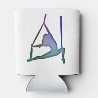 Rainbow Fractal Aerial Silhouette Circus Coozie