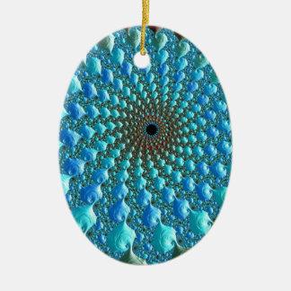 Rainbow Fractal Art Ceramic Ornament