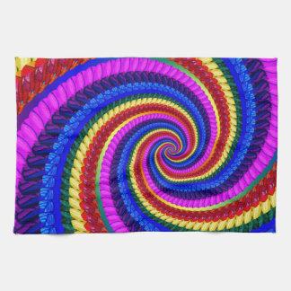 Rainbow Fractal Art Swirl Pattern Kitchen Towel