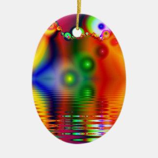 Rainbow Fractal Ceramic Ornament