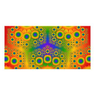 Rainbow Fractal Explosions Custom Photo Card