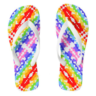 Rainbow Fractal Mosaic Pattern Flip Flops