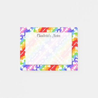 Rainbow Fractal Mosaic Pattern Personalized 4 x 3 Post-it Notes