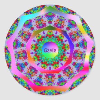 ~ Rainbow Fractal Pattern ~ Personalised GAYLE ~ Classic Round Sticker