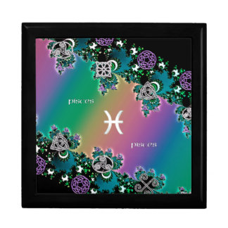 Rainbow Fractal Zodiac Sign Pisces Jewelry Boxes