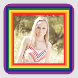 Rainbow Framed Photo - Square Sticker