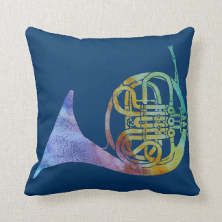 Rainbow French Horn Throw Pillow