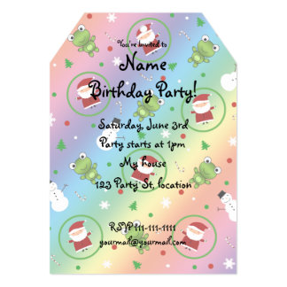 Rainbow frogs santa claus snowmen 5x7 paper invitation card