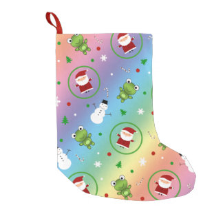 Rainbow frogs santa claus snowmen small christmas stocking