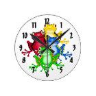 Rainbow Frogs Wall Clock
