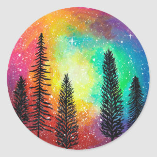 Rainbow Galaxy Sticker - Rainbow Forest Sticker