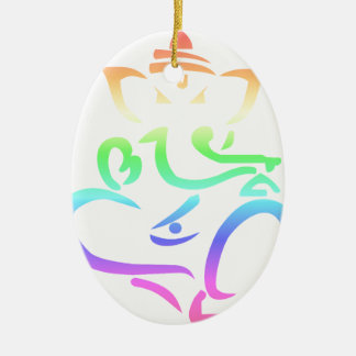 Rainbow Ganesha Ceramic Ornament