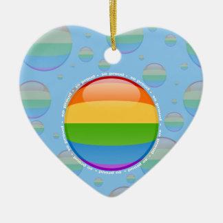 Rainbow Gay Lesbian Pride Bubble Flag Ceramic Heart Ornament