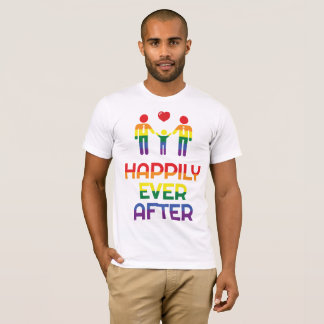 Rainbow Gay Marriage T-Shirts For Men Happily