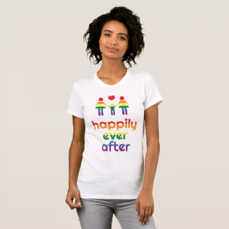 Rainbow Gay Marriage T-Shirts For Women Happily