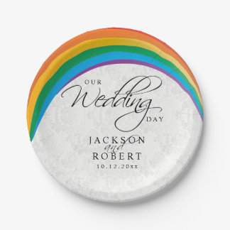 Rainbow Gay - Our Wedding Day Paper Plate