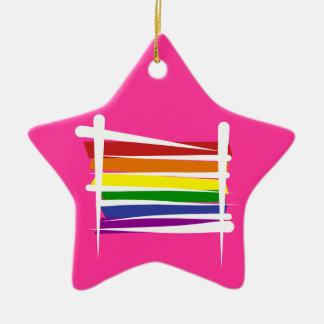 Rainbow Gay Pride Brush Flag Ceramic Star Ornament