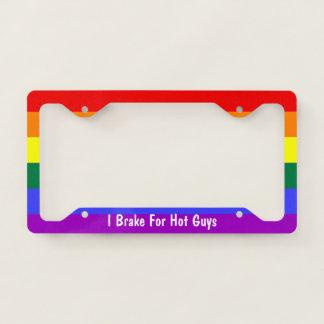 Rainbow Gay Pride I Brake For Hot Guys License Plate Frame